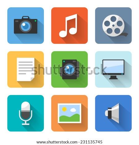 Flat multimedia icons. Vector illustration - stock vector