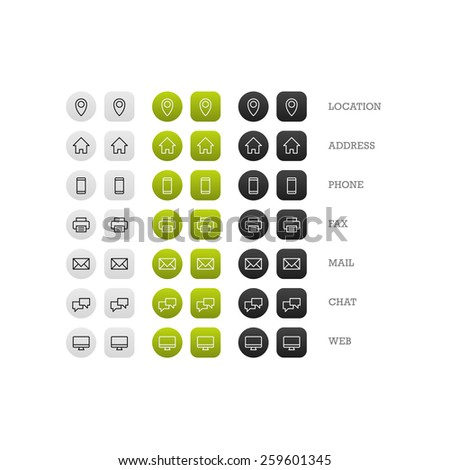 Flat multipurpose business card icon set of web icons for business, finance and communication. Vector graphic template. - stock vector