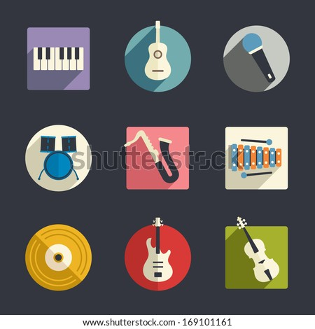 Flat music icons - stock vector