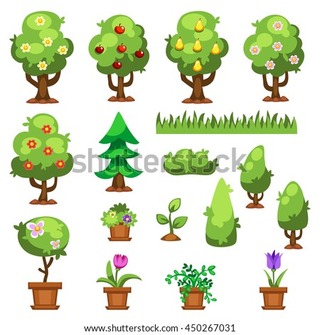 Flat nature plants green ecology flat plants. Summer green tree elements nature. Beautiful garden plants set of flat flowers elements grass, plants, bushes and trees vector illustration - stock vector