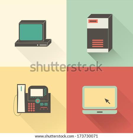Flat network icon set. PC, server, VoIP phone, laptop. - stock vector