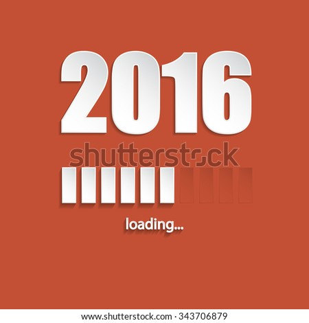 Flat new year 2016 loading background design with orange background - stock vector