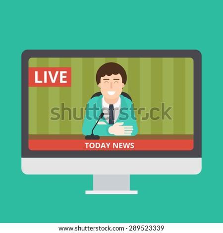 Flat News On Monitor Illustration - stock vector