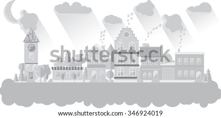 Flat night city sleep houses - stock vector