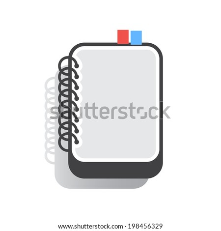 Flat notebook illustration with shadow, isolated on white background.