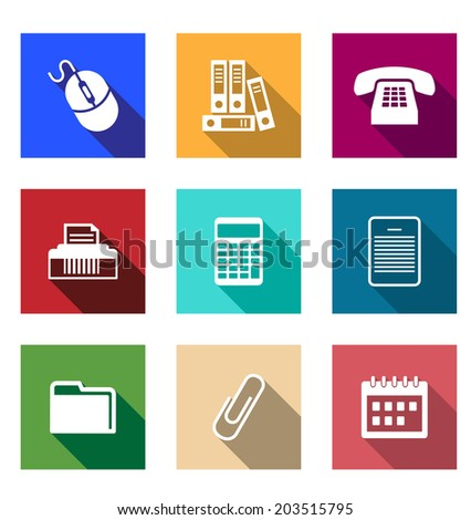 Flat office supply icons with a computer mouse, files, telephone, printer, calculator, PDA, folder, paper clip and a desktop calendar for application design - stock vector