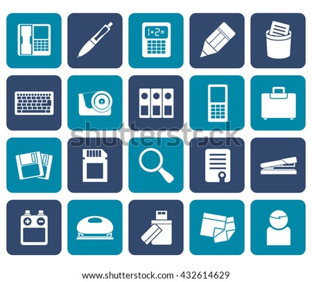 Flat Office tools Icons - vector icon set 3 - stock vector