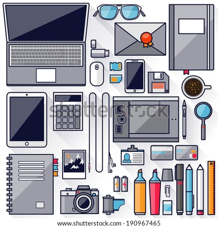Flat office workplace environment, tools and essentials. Various devices. Collection concept in stylish trendy colors of business items. Isolated vector illustration. Stroke, thin line, outline. - stock vector
