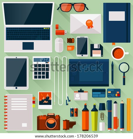 Flat office workplace environment, tools and essentials. Various devices. Vector collection concept in stylish trendy colors of business items and elements. Isolated vector illustration.  - stock vector