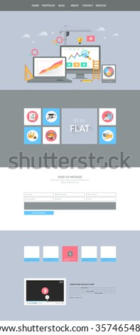 Flat One Page Website Interface. Buttons, icons, flat design elements