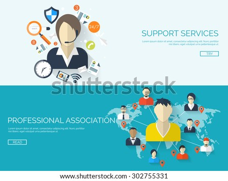 Flat online support concept background.  Web technical service. Operator and customer. Professional network, community. - stock vector
