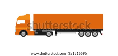 Flat orange cargo delivery truck (on white background). Perfect design element, vector art.