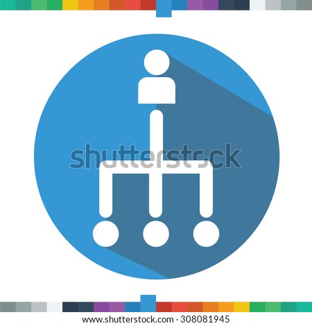 Flat outsourcing icon in a circle with a long shadow. - stock vector