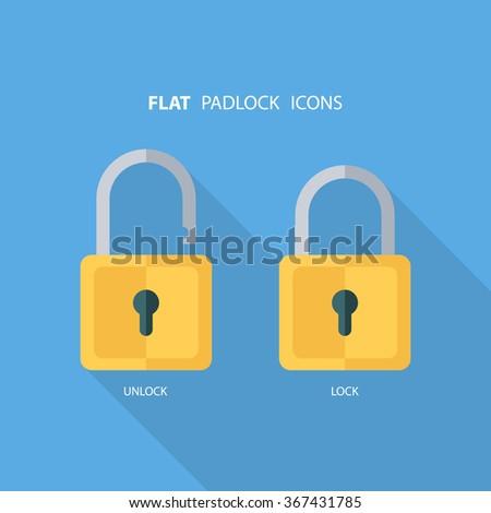 Flat padlock icons. Lock and unlock. Concept password, blocking, security. Lock symbol. Lock vector icon. Vector illustration. - stock vector