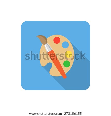 Flat palette and paints icon with long shadow. Vector illustration - stock vector