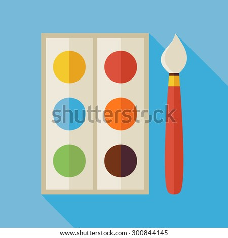 Flat Palette with Colorful Paints and Paintbrush Illustration with long Shadow. Back to School and Education Vector illustration. Painting and Drawing Tool Object.  - stock vector
