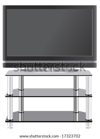 Flat Panel television on modern tv stand - stock vector