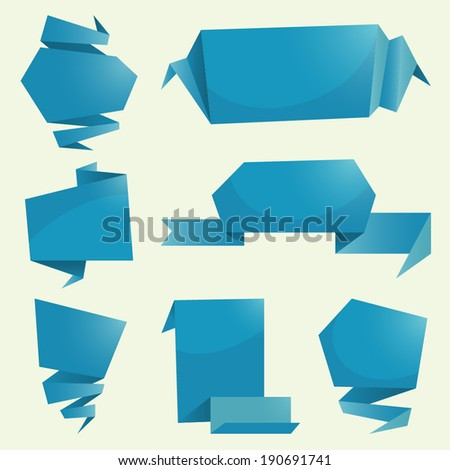 Flat paper banners - stock vector