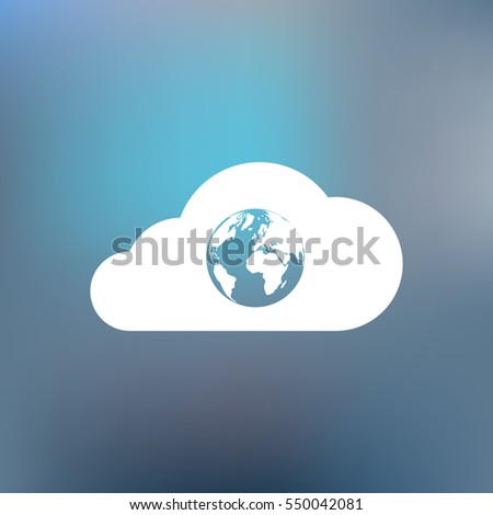 Flat paper cut style icon of a cloud with globe inside. Vector illustration