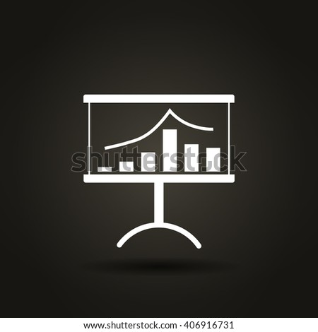 Flat paper cut style icon of a presentation stand. Vector illustration
