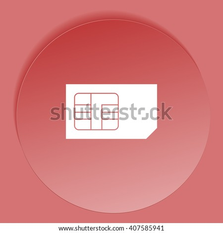Flat paper cut style icon of a sim card. Vector illustration
