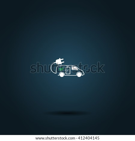 Flat paper cut style icon of an eco car. Vector illustration