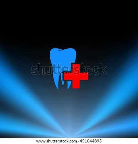 Flat paper cut style icon of tooth. Dentistry symbol icon vector illustration