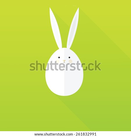 flat paper Easter Bunny - stock vector