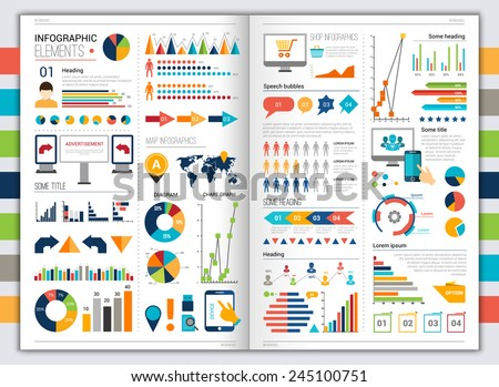 Flat paper infographic set with charts and bookmarks title and heading elements vector illustration - stock vector
