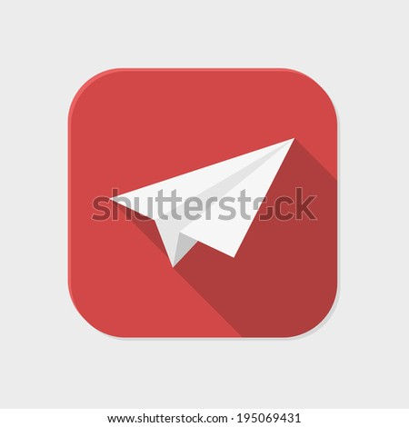 Flat paper plane icon for application on grey background - stock vector