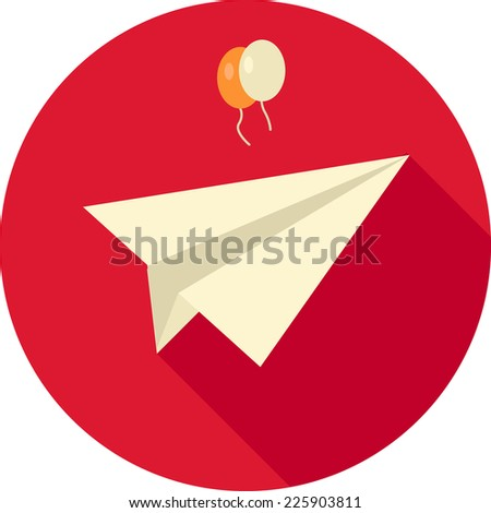 Flat paper plane with balloons - stock vector