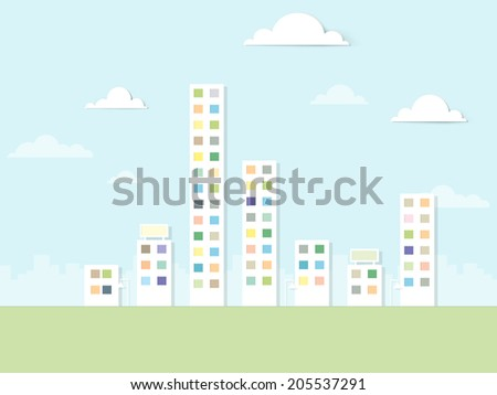 flat paper urban landscape - stock vector