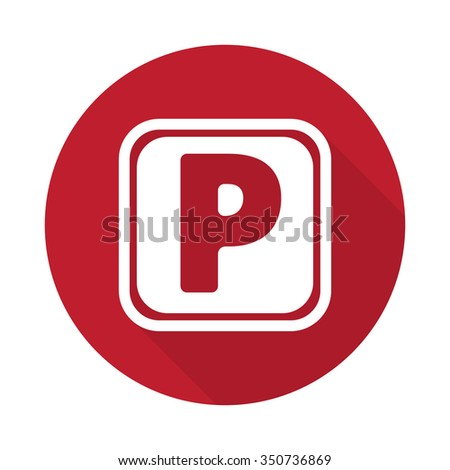 Flat Parking icon with long shadow on red circle