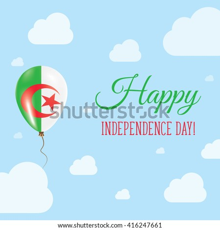 Flat Patriotic Poster for Independence Day of Algeria. Single Balloon in National Colors of Algeria Flying in the Air. Happy National Day Greeting Card. Vector illustration. - stock vector