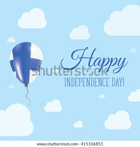Flat Patriotic Poster for Independence Day of Finland. Single Balloon in National Colors of Finland Flying in the Air. Happy National Day Greeting Card. Vector illustration. - stock vector