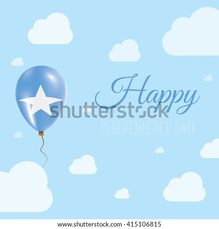 Flat Patriotic Poster for Independence Day of Somalia. Single Balloon in National Colors of Somalia Flying in the Air. Happy National Day Greeting Card. Vector illustration. - stock vector