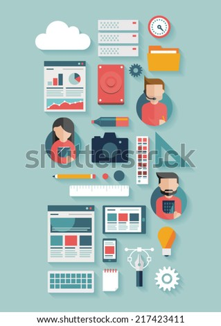 Flat people and creative office icon set - stock vector