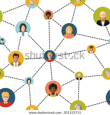 Flat people avatars in social network on white background, seamless pattern - stock vector
