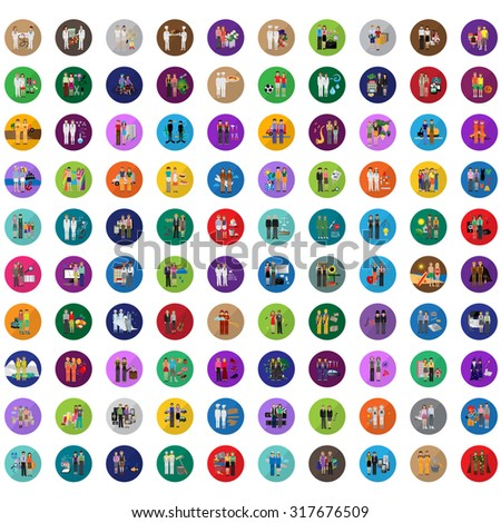 Flat People - Different Occupation Set. Collection Of Colorful Icons. For Web, Websites, Print, Presentation Templates, Mobile Applications And Promotional Materials - Vector Illustration - stock vector