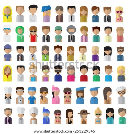 Flat People Icons, Different Occupation: Doctor, Artist, Champion, Sportsman, Athlete, Astronaut, Waiter, Barman, Graduates - Isolated On White Background - Vector Illustration, Graphic Design  - stock vector