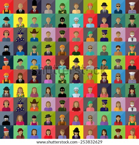 Flat People Icons, Different Occupation: Doctor, Police, Artist, Miner, Prisoner, Clown, Officer, Athlete, Wizard, Cowboy, Diver, Soldier, Skater - On Background - Vector Illustration, Graphic Design - stock vector