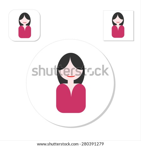 Flat people icons. Faces of people for avatar, profile page, for app or web design made in modern flat style. Vector women characters. - stock vector