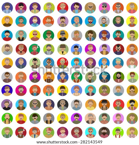 Flat People Icons - Isolated On White Background, Vector Illustration, Graphic Design Editable For Your Design  - stock vector