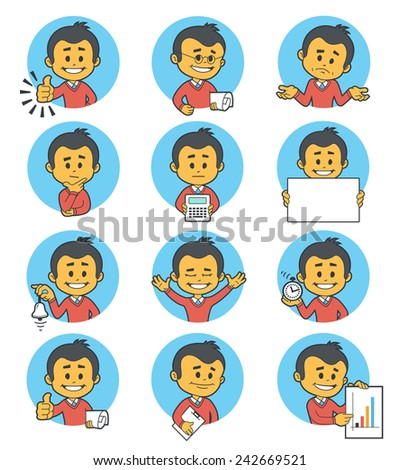 Flat people icons with business characters. Vector illustration. - stock vector