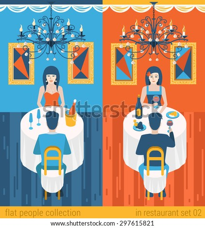 Flat people lifestyle situation evening dinner in cafe restaurant concept. Set of young beautiful man and woman couple table drinking champagne. Vector illustration collection of young creative humans - stock vector