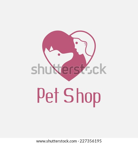 Flat pet shop logo with dog and man in heart are best friends, loved doggy sign for pet salon or store icon, vector illustration - stock vector