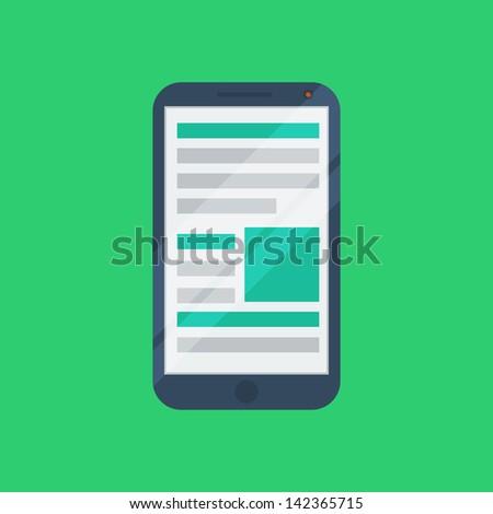 Flat phone icon - stock vector