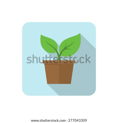 Flat plant icon with long shadow. Vector illustration - stock vector