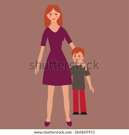 Flat portrait of happy family with mother and child.   Young mom with little kid together. Woman and son. Illustration of single unmarried mother vector - stock vector