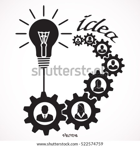Flat portraits of staff with idea lamp isolated on white background